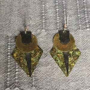 Funky geometric flat metal earrings